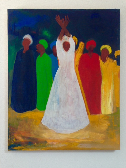 "Bernard Stanley Hoyes ""Gathering"" 16"" x 20"" Oil on wood stretched canvas"